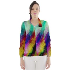 Colorful Abstract Paint Splats Background Wind Breaker (women)