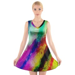 Colorful Abstract Paint Splats Background V Neck Sleeveless Skater Dress