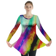 Colorful Abstract Paint Splats Background Long Sleeve Tunic