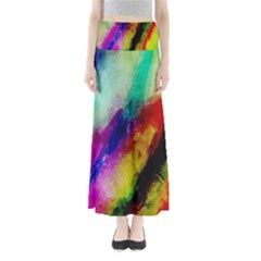 Colorful Abstract Paint Splats Background Maxi Skirts