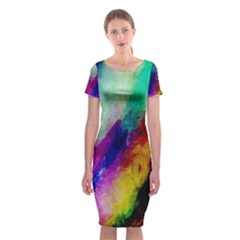 Colorful Abstract Paint Splats Background Classic Short Sleeve Midi Dress