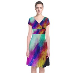 Colorful Abstract Paint Splats Background Short Sleeve Front Wrap Dress