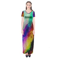Colorful Abstract Paint Splats Background Short Sleeve Maxi Dress