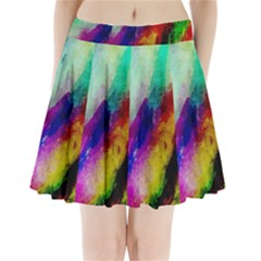 Colorful Abstract Paint Splats Background Pleated Mini Skirt
