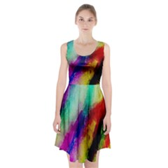 Colorful Abstract Paint Splats Background Racerback Midi Dress