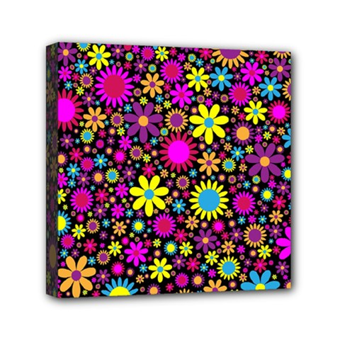 Bright And Busy Floral Wallpaper Background Mini Canvas 6  X 6
