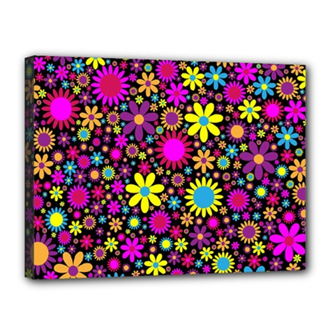 Bright And Busy Floral Wallpaper Background Canvas 16  X 12