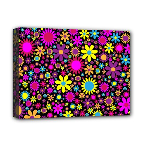 Bright And Busy Floral Wallpaper Background Deluxe Canvas 16  X 12