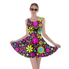 Bright And Busy Floral Wallpaper Background Skater Dress
