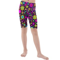 Bright And Busy Floral Wallpaper Background Kids  Mid Length Swim Shorts