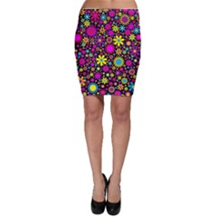 Bright And Busy Floral Wallpaper Background Bodycon Skirt