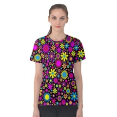 Bright And Busy Floral Wallpaper Background Women s Cotton Teecotton Tee