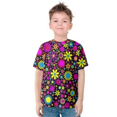 Bright And Busy Floral Wallpaper Background Kids  Cotton Tee