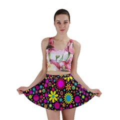 Bright And Busy Floral Wallpaper Background Mini Skirt
