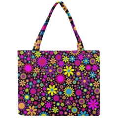 Bright And Busy Floral Wallpaper Background Mini Tote Bag