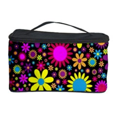 Bright And Busy Floral Wallpaper Background Cosmetic Storage Case