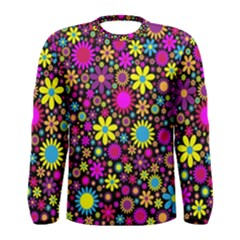 Bright And Busy Floral Wallpaper Background Men s Long Sleeve Tee