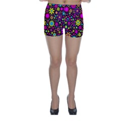 Bright And Busy Floral Wallpaper Background Skinny Shorts