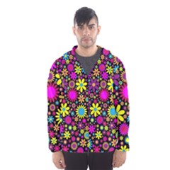 Bright And Busy Floral Wallpaper Background Hooded Wind Breaker (men)