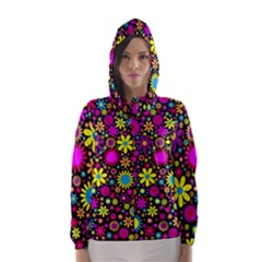 Bright And Busy Floral Wallpaper Background Hooded Wind Breaker (women)