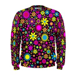 Bright And Busy Floral Wallpaper Background Men s Sweatshirt