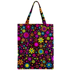 Bright And Busy Floral Wallpaper Background Zipper Classic Tote Bag