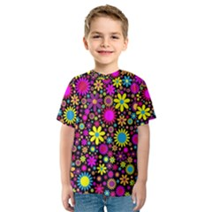 Bright And Busy Floral Wallpaper Background Kids  Sport Mesh Tee