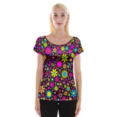 Bright And Busy Floral Wallpaper Background Cap Sleeve Tops