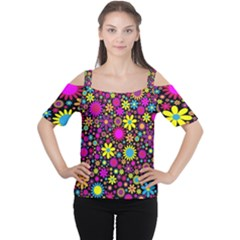 Bright And Busy Floral Wallpaper Background Women s Cutout Shoulder Tee