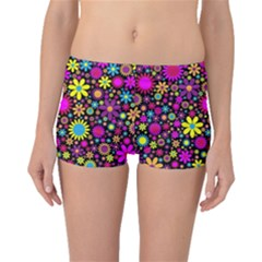 Bright And Busy Floral Wallpaper Background Boyleg Bikini Bottoms