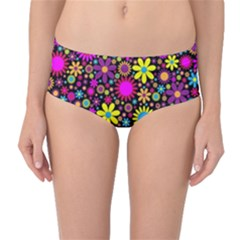 Bright And Busy Floral Wallpaper Background Mid Waist Bikini Bottoms