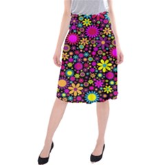 Bright And Busy Floral Wallpaper Background Midi Beach Skirt