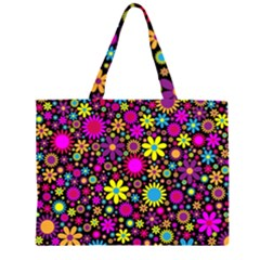 Bright And Busy Floral Wallpaper Background Zipper Large Tote Bag