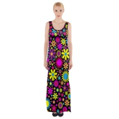 Bright And Busy Floral Wallpaper Background Maxi Thigh Split Dress