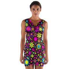 Bright And Busy Floral Wallpaper Background Wrap Front Bodycon Dress