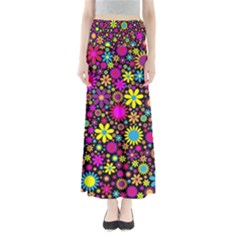 Bright And Busy Floral Wallpaper Background Maxi Skirts
