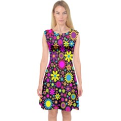 Bright And Busy Floral Wallpaper Background Capsleeve Midi Dress