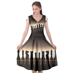 Chess Pieces Cap Sleeve Wrap Front Dress