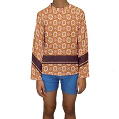 Floral Seamless Pattern Vector Kids  Long Sleeve Swimwear