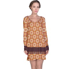 Floral Seamless Pattern Vector Long Sleeve Nightdress
