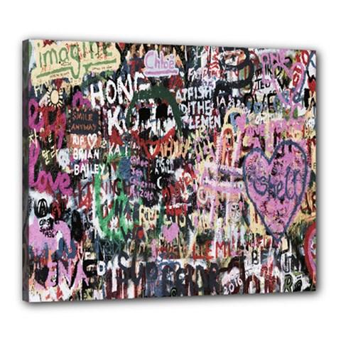 Graffiti Wall Pattern Background Canvas 24  X 20