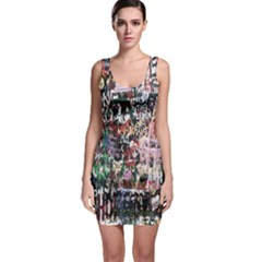 Graffiti Wall Pattern Background Sleeveless Bodycon Dress