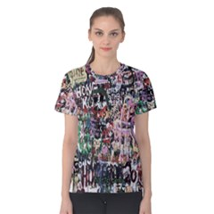 Graffiti Wall Pattern Background Women s Cotton Teecotton Tee