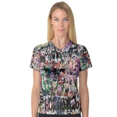 Graffiti Wall Pattern Background Women s V Neck Sport Mesh Tee