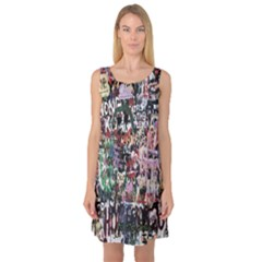 Graffiti Wall Pattern Background Sleeveless Satin Nightdress