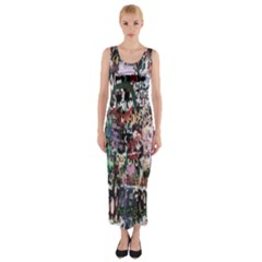 Graffiti Wall Pattern Background Fitted Maxi Dress