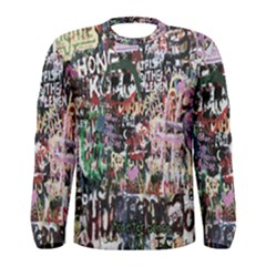 Graffiti Wall Pattern Background Men s Long Sleeve Tee
