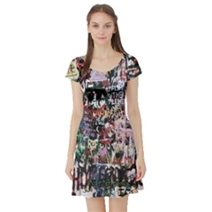 Graffiti Wall Pattern Background Short Sleeve Skater Dress