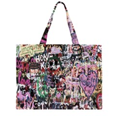 Graffiti Wall Pattern Background Zipper Large Tote Bag