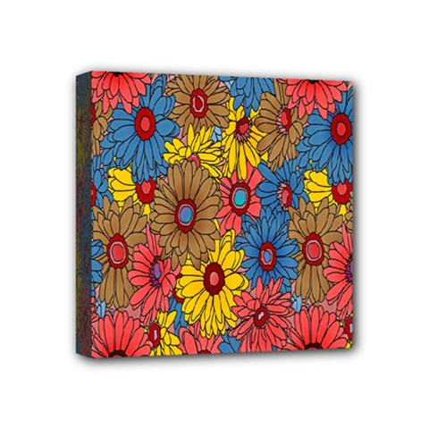 Background With Multi Color Floral Pattern Mini Canvas 4  X 4